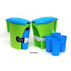 Set de pichel de plastico con 4 vasos
