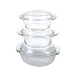 Set de 3 pyrex con tapa de cristal MARCA EUROWARE