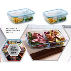 Set de 3 Recipiente rectangular de 3QT y 2 de 34 Oz  MARCA PURELIFE