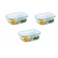 Set de 3 Recipiente rectangular de 34 Oz MARCA PURELIFE