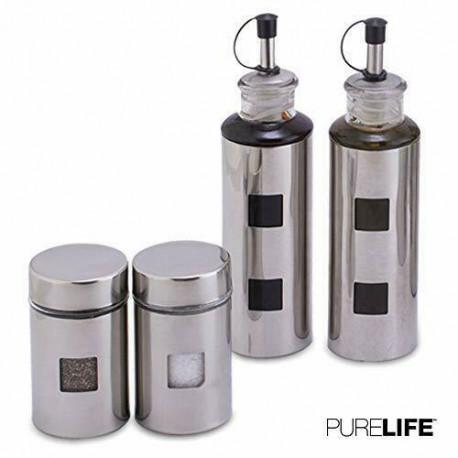 Set de 4 recipientes en color silver MARCA PURELIFE