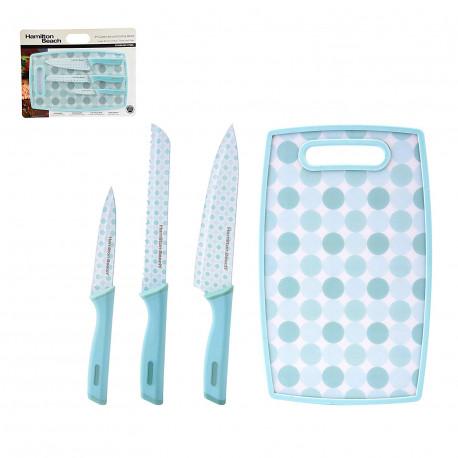 Set de 3 cuchillos y tabla MARCA HAMILTON BEACH