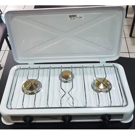 Estufa de mesa de 3 hornillas MARCA PREMIERE BY ABM