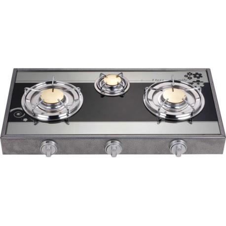 Estufa de lujo y top de vidrio de mesa de 3 hornillas MARCA PREMIERE BY ABM