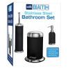 Set de 3 accesorios para baño de Acero inoxidable negro MARCA EUROHOME