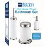 Set de 3 accesorios para baño de Acero inoxidable Blanco MARCA EUROHOME