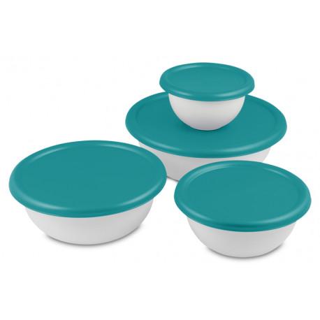 Set de 4 recipientes plásticos con tapa MARCA STERILITE