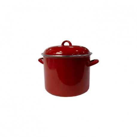 Olla de acero esmaltada, color rojo Capacidad 7.5 Litros