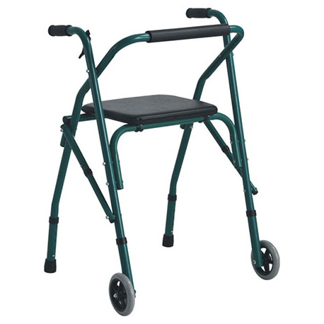 Andador plegable con Asiento y ruedas frontales MARCA ABM MEDICAL CARE