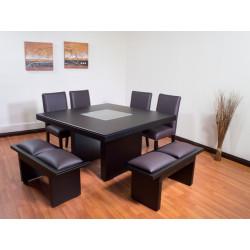 Amueblado de comedor  de 4 sillas y 2 bancas Oxford MARCA PRIMIUM