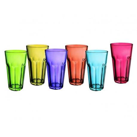 Juego de 6 vasos de vidrio de colores MARCA ALPINE CUISINE